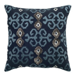 Rizzy Home - Rizzy Home Cotton Embroidered Ikat Decorative Throw Pillow Multicolor - TRS033 - Shop for Pillowcases and Shams from Hayneedle.com! The Rizzy Home Cotton Embroidered Ikat Decorative Throw Pillow puts a modern spin on a classically exotic pattern. This sophisticated beauty is made of navy blue satiny soft cotton embroidered in an intricate design in blue and silver. It includes a hidden side zipper and removable polyester insert. Dry clean only.About Rizzy HomeRizwan Ansari and his brother Shamsu come from a family of rug artisans in India. Their design color and production skills have been passed from generation to generation. Known for meticulously crafted handmade wool rugs and quality textiles the Ansari family has built a flourishing home-fashion business from state-of-the-art facilities in India. In 2007 they established a rug-and-textiles distribution center in Calhoun Georgia. With more than 100 000 square feet of warehouse space the U.S. facility allows the company to further build on its reputation for excellence artistry and innovation. Their products include a wide selection of handmade and machine-made rugs as well as designer bed linens duvet sets quilts decorative pillows table linens and more. The family business prides itself on outstanding customer service a variety of price points and an array of designs and weaving techniques.