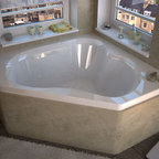 Venzi - Venzi Tovila 60 x 60 Corner Whirlpool Jetted Bathtub - The Tovila series bathtubs feature a three-cockpit cradle opening, rounded interior edges for safety and luxury, stylish design, and a standard corner installation.