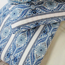 Cokas Diko - Cokas Diko Sonoma Paisley Striped Duvet Set, Queen - Like a cool summer breeze that whispers over your skin, our Sonoma Paisley Striped Duvet is decadence at its finest.  With cool blue tones over crisp white this set is a breath of fresh air.  Super soft incredibly comfortable a Cokas Diko exclusive. Our queen duvet set come with 2 standard sized coordinating shams. Pattern reverses to self. Created with 300 thread count pre washed percale cotton. Machine washable.