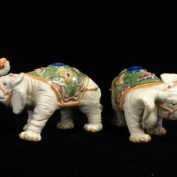 Pair Handmade Ceramic Elephant Ru Yi Coin Figures - This is a delicate hand made elephant figure with plain color and charm accent on the body.
