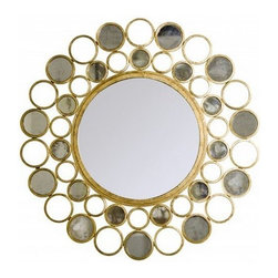 Worlds Away - Designer Lighting | Worlds Away Bubbles Gold Leafed Round Mirror - ROUND IRON GOLD LEAF MIRROR WITH ANT MIRROR INSETS