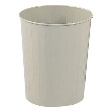 "Safco - Round Wastebasket, 23-1/2 Qt. (Qty.6) - Sand - Got dibs on durability? This popular receptacle is puncture resistant, solid-ribbed steel construction with rolled wire rim tops that won't burn, melt or emit toxic fumes. The bottom is recessed 1"" to provide air circulation in the event of fire. Meets OSHA requirements for waste receptacles and qualify under NFPA Life Safety Code 101, Section 31 and is UL classified. Durable, scratch resistant powder coat finish."