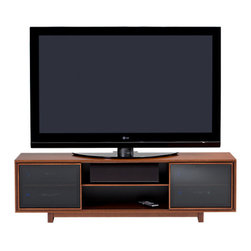 BDI - Cirrus Entertainment Center - Perfect for use with large TVs, Cirrus is available in two models. Both feature sliding wood-framed doors with IR-friendly grey tinted glass that conceal two side compartments. The center compartment provides the ideal space for a center channel speaker and/or additional components. The console height model also includes a media storage drawer to keep everything neat and organized. Cirrus 8157 is a low profile cabinet with two component compartments and adjustable center shelves.