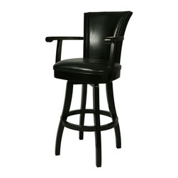 """Pastel Furniture - Pastel Furniture Glenwood 26 Inch Swivel Barstool - The Glenwood Barstool with arms is a beautifully made barstool that has a simple yet elegant design that is perfect for any decor. An ideal way to add a classic flair to any dining or entertaining area in your home. This swivel barstool features a quality wood frame with sturdy legs and foot rest finished in Feher Black. The padded seat is upholstered in Black Leather offering comfort and style. Available in 26"""" counter or 30"""" bar height."""