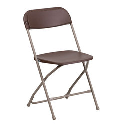 Flash Furniture - Hercules Series 800 lb. Capacity Premium Brown Plastic Folding Chair - Plastic folding chairs are the choice of many event planners for their lightweight design, ease of cleaning, and versatility among events. This portable folding chair can be used for Banquets, Parties, Graduations, Sporting Events, School Functions and in the Classroom. This chair will be the perfect addition in the home when in need of extra seating to accommodate guests. Constructed of lightweight textured polypropylene and a strong steel frame, these folding chairs will suit most any occasion.