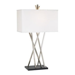 Possini Euro Design Asymmetry Table Lamp - Like many fashion trends, the asymmetrical look (so popular for some time now) has made its way into home furnishings. This lamp has a sophisticated sculptural quality that would complement almost any decor. I would love to see it in a guest or master bedroom.