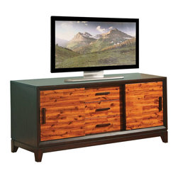 """Steve Silver Co. - Abaco 60"""" TV Cabinet, Two Toned Acacia Finish - 3 drawers & 2 sliding doors for storage. Tapered legs. Multi-step acacia finish. Contemporary style. Corner block construction. Tongue and groove joints. Select hardwood solids material. Some assembly required."""