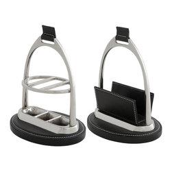 Eichholtz Oroa - Desk Set Marquise, Black, Set of 2 - Nickel finish and black leather