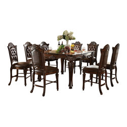 "Acme - 7-Piece Vendome Ii Collection Cherry Finish Carving Counter Height Dining Set - 7-Piece Vendome II collection cherry finish wood detailed carving counter height dining table set with tufted back chairs. This set includes the table and 6 side chairs. Table measures 54"" x 54"" x 36"" H. Side chairs measure 24"" H to the seat. Additional chairs also available separately. Some assembly required."