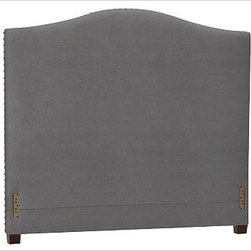 """Raleigh Nailhead Camelback Headboard, King, everydaysuede(TM) Metal Gray - Crafted by our own master upholsterers in the heart of North Carolina, our upholstered bed and headboard is available in a graceful camelback silhouette. Crafted with a kiln-dried hardwood frame. Headboard, footrail and siderails are thickly padded and tightly upholstered with your choice of fabric. Nailhead detail trims the outer edges of the headboard. Exposed block feet have a hand-applied espresso finish. Headboard also available separately. The headboard-only option is guaranteed to fit with our PB metal bedframe using the headboard hardware. Bed is designed for use with a box spring and mattress. This is a special-order item and ships directly from the manufacturer. To see fabrics available for Quick Ship and to view our order and return policy, click on the Shipping Info tab above. This item can also be customized with your choice of over {{link path='pages/popups/fab_leather_popup.html' class='popup' width='720' height='800'}}80 custom fabrics and colors{{/link}}. For details and pricing on custom fabrics, please call us at 1.800.840.3658 or click Live Help. View and compare with other collections at {{link path='pages/popups/bedroom_DOC.html' class='popup' width='720' height='800'}}Bedroom Furniture Facts{{/link}}. Crafted in the USA. Full: 57.5"""" wide x 83.5"""" long x 59"""" high Queen: 64.5"""" wide x 88.5"""" long x 59"""" high King: 80.5"""" wide x 88.5"""" long x 59"""" high Cal. King: 74.5"""" wide x 92.5"""" long x 59"""" high Full: 57.5"""" wide x 4.5"""" thick x 59"""" high Queen: 64.5"""" wide x 4.5"""" thick x 59"""" high King: 80.5"""" wide x 4.5"""" thick x 59"""" high Cal. King: 74.5"""" wide x 4.5"""" thick x 59"""" high"""
