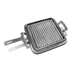 Frontgate - Grillware Square Griddle with Handles - Crafted from durable Armetale metal, a non-toxic aluminum-based alloy. Grill and serve in the same piece. Keeps your food hot longer on the table. Grill, oven, stovetop, freezer, and refrigerator safe. Resists rust. Grill crispy bacon, gooey grilled cheese, or seasoned shrimp and scallops all while enjoying the great outdoors with family and friends. The Grillware Square Griddle with Handles is grill-safe for backyard brunches, tailgates, and even camping trips. When you finish grilling, the griddle does double-duty as a serving piece on your outdoor table, making cleanup a snap.  .  .  .  .  . Wash with mild soap, rinse, and towel dry; not dishwasher safe . Lifetime manufacturer's warranty against breakage .