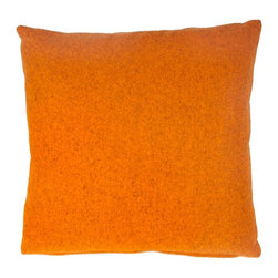 Designer Fluff - Orange Canyon Pillow, 12x20 - Orange is tempered with a touch of gray in this cozy throw pillow crafted from a blend of wool and nylon. A concealed zipper keeps the feather/down insert discreetly in place, so nothing detracts from the vibrant richness of the fabric.