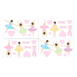 Sweet Jojo Designs - Ballerina Wall Decal Set of 4 Sheets by Sweet Jojo Designs - The Ballerina Wall Decal Set of 4 Sheets by Sweet Jojo Designs, along with the  bedding accessories.