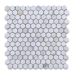 """Stone Center Online - Calacatta Gold 1 inch Hexagon Mosaic Tile Polished - Marble from Italy - Premium Grade Calacatta Marble Italian Calcutta Gold Polished 1"""" Hex Mosaic Wall & Floor Tiles are perfect for any interior/exterior projects such as kitchen backsplash, bathroom flooring, shower surround, countertop, dining room, entryway, corridor, balcony, spa, pool, fountain, etc. Our large selection of coordinating products is available and includes brick, herringbone, basketweave mosaics, field, subway tiles, moldings, borders, and more."""