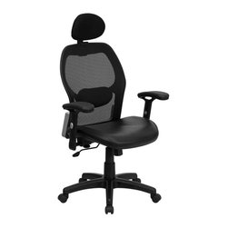 Flash Furniture - Flash Furniture High Back Super Mesh Office Chair in Black - Flash Furniture - Office Chairs - LFW42BLHRGG - This mesh office chair will comfortably accommodate your needs as a office or home office chair. Chair features a breathable mesh back with a comfortably padded seat. The silver accented back adds a touch of flair to highlight your work space. [LF-W42B-L-HR-GG]