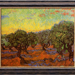 Amanti Art - Olive Grove (L'Uliveto) by Vincent Van Gogh - Considered the greatest Dutch painter after Rembrandt, Van Gogh's striking and exuberant paintings were all produced during a period of ten years. Through forceful color, aggressive brushwork and contoured forms, his work conveys deep, emotional undercurrents