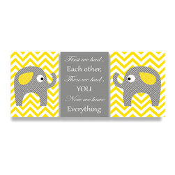Stupell Industries - Yellow Chevron Elephants Love Trio - Treat your home to some style with one this decorative wooden wall plaques.    It is produced on sturdy half-inch thick MDF wood, and comes with a saw tooth hanger on the back for instant use.  The sides are hand finished and painted so a perfect crisp look.  MADE IN USA.