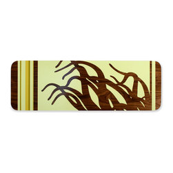 jefdesigns - Anemone 2 Wall Graphic - Catch the wave. This hand-painted original work of art is a study in form and contrast. Use it to add eye-catching movement to your modern interiors, with its exposed wood banding that appears to float off the edges.