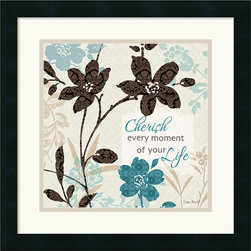 """Amanti Art - Botanical Touch Quote I Framed Print by Lisa Audit - """"Cherish every moment of your life"""""""
