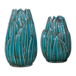 Uttermost - Darniel Ceramic Vases, Set of 2 - Vases can bring in that accent of color that is lacking in your space. These would look amazing in your spa bath giving just the right pop of color.