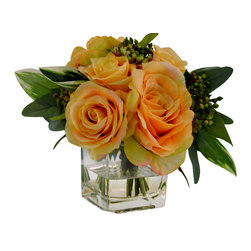 The French Bee - Yellow Rose in Cube Vase - Yellow roses in a cube vase. Made in USA