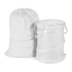 White Mesh Laundry Bag and Hamper Kit - Honey-Can-Do LDYX03017 Mesh Laundry Bag and Hamper Kit, White. Included with the laundry kit is the LBG-01142 Mesh Laundry Bag, White 25x36 and HMP-01260 Large Mesh Pop-Open Hamper, White 19x24. Use the mesh laundry bag to tote your clothes to and from the laundry room. Mesh bag features handy carrying strap with drawstring. Use with the Pop Open hamper in combination with your mesh bag for a functional laundry kit. Hamper easily pops-up or down for easy assembly and storage. Mesh materials lets clothes breathe, hamper with handy straps for ease in mobility. Limited lifetime warranty.