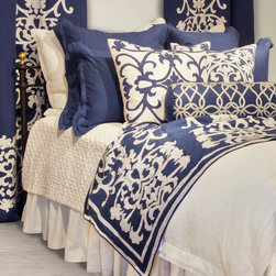 Lili Alessandra - Lili Alessandra Jon L White Duvet Cover or Set - Elaborate prints, plush fabric and elegant details define the unique and distinctive style of Lili Alessandra. Look to Lili's luxurious coordinating bed linens to create a lavish boudoir without a lot of fuss. Classic white bed linens are given a modern update with navy blue accents and geometric details to create the Jon L bedset. Lay the foundation for this regal bedding ensemble with the Jon L white linen duvet cover and complete the bedset with layers of texture in optional pieces from the Theresa, Emily, Gypsy and Olivia collections. Lili Alessandra textiles reflect a hand made artistry that may result in slight and expected design variations.