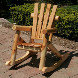Moon Valley Rustic Furniture - Moon Valley Adirondack Childrens Rocking Chair - M1701-UNFINISHED - Shop for Chairs and Sofas from Hayneedle.com! Let your little ones relax in rustic style with the Adirondack Children s Rocking Chair. This chair is made of white cedar and pine with post-style arms and legs. Its beautiful wood grain shines through with amber spar or natural finish options. A slat back and seat complete the look and complement the comfort of the smooth rocking legs. About Moon Valley Rustic Furniture Since 1928 Moon Valley has been all about one thing: crafting the finest wooden outdoor furnishings for your home. Though times have certainly changed in the past 70 years Moon Valley's dedication to beautifully meticulously crafted products has remained constant. Starting with the finest northern white cedar or ponderosa pine each Moon Valley product is handcrafted using classic sturdy doweled construction which ensures lasting durability and function. An established family company with decades of experience Moon Valley remains true to old-fashioned dependability quality and impeccable customer service.