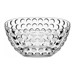 Italesse - Bolle Bowl by Italesse - Make your champagne even more bubbly with the Italesse Bolle Bowl. It is an oval acrylic champagne ice bowl accented by numerous spheres, which sparkle merrily with any ambient light. Useful for icing bottles indoors or out, the Bolle Bowl is also great as an elegant centerpiece or large fruit bowl. Founded in 1979, Italesse is an Italian producer of fine glassware. At first, Italesse glassware was available exclusively for beverage producers and the hospitality trade.