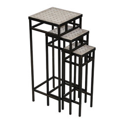 4D Concepts - 4D Concepts 3-Piece Slate Square Plant Stands in Antique Tuscany Metal - What beautifully crafted square steel and travertine nesting tables. This set of 3 plant stands are perfect for any den, living room, nook, or patio and can be used for extra table top needs when you are entertaining. All the metal is finished in a rich powder coated antique Tuscany finish which gives it a distinct look. The height difference on the 3 plant stands are perfect for nesting. The three sided metal frames at the bottom gives the units the stability needed for the tables. Constructed of metal and stone. Clean with a dry non abrasive cloth. Comes fully assembled.