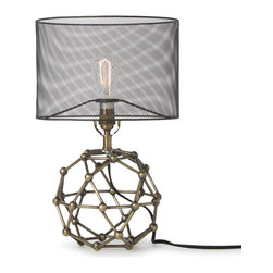 Kathy Kuo Home - Hutten Industrial Loft Black Mesh Brass Molecular Table Lamp - Connect the dots with this lamp on your end table. An industrial mesh lamp shade sits perfectly above the open space housed by the base's interlocking joints. Inspired molecular sculpture, this lamp will enlighten your imagination as well as your loft.
