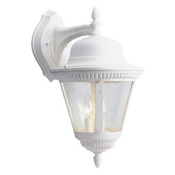 """Progress Lighting - P5864-30 Progress Lighting Westport - Progress Lighting P5864 2 Light Westport Outdoor Sconce Two-light cast wall lantern with clear seeded glass. ,. This Progress Lighting product is offered in white. Works with two 60-watt clear incandescent candelabra bulbs. Part of the Westport collection. Width/Diameter: 11"""". Height: 19-3/8"""". Uses (2) 60w Max Candelabra Base Bulbs. Clear seeded glass. Beaded details with ribbed finials. Die cast aluminum construction. Painted finishes. Companion post top, and chain mounted units. Wall mount. Wall bracket covers a standard recessed 4"""" hexagonal outlet box. Mounting strap included. Phenolic candelabra based sockets. Pre-wired. UL Wet location listed."""