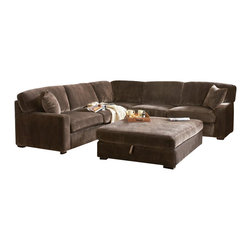 Coaster - Coaster Luka Casual L-Shaped Sectional in Coffee Velvet - Coaster - Sectionals - 500703 - Sink into ultra comfort with this L-shaped sectional sofa. Its soft casual style features low track arms and block wood feet while coil spring seating and textured padded velvet fabric complete its plush look and feel. Three coordinating accent pillows are included for the ultimate group seating arrangement.