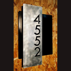 Address Plaques - Custom Modern Layered Floating House Numbers Vertical Offset in Aluminum