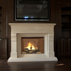 Transitional Indoor Fireplaces by Lyonstone Designs Inc.