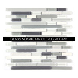 All Marble Mosaic Glass and Stone blend Random Strip 12 x 12 Mosaic Tile Mag-001 - Glass and Stone Blend Mosaic Tiles and Backsplash from All Marble Tiles