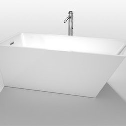 "Wyndham Collection(R) - Hannah 67"" Soaking Bathtub by Wyndham Collection - White - The Hannah Soaking Tub is inspired by the hard edges and lines of modern architecture. The asymmetrical shape is clean and geometric, lending a beautiful minimalist, yet updated, feel to the modern bathroom. Built to last and always warm to the touch, the Venezia Bathtubs are a perfect place to melt away tension and stress, leaving you refreshed, recharged and renewed. Pair this bathtub with a freestanding tub filler to create a serene bath environment. Browse all the Wyndham Collection Bathtubs. Features Much deeper than standard tubs for full immersion Warmer to the touch and more comfortable than traditional enamel/steel tubs Acrylic construction for strength and ease of handling and installation Includes adjustable base for accurate leveling and stability Includes pop-up drain Includes overflow Tub filler not included UPC and cUPC Approved Spec Sheet Freestanding Tub Installation GuideTaron Tub Filler Installation Guide"
