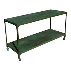 Sierra Living Concepts - Industrial Reclaimed Wood Rolling Console Table - Manufacturing details