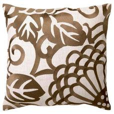 DL Rhein Chrysanthemum Taupe Embroidered Pillow