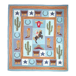 Patch Quilts - Cowboy Duvet Cover Queen 88 x 98 Inch - Beautifully crafted cover with intricate applique  - Bedding ensemble from Patch Magic,  the name for the finest quality quilts and accessories  - Machine washable  - Line or Flat dry only Patch Quilts - DCQCWBY