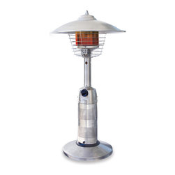 Blue Rhino - Outdoor Table Top Patio Heater - This tabletop patio heater is a compact heater that fits right on top of the patio table so guests feel warm during dinner conversations. The tabletop heater features 11,000 BTUs of heating power and an adjustable stainless steel burner.