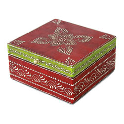 """MarktSq - Gorgeous Wooden Hand Painted Jewelry Box in Dark Pink and Green - Organize your dresser top with this rustic hand painted jewelry box. Ideal for storing jewelry or other trinkets. The box has a distressed finish and a brass pull and features an intricate pattern in silver that adds to it's elegance. The approximate dimensions are L 7"""" x W 7"""" x W 3.5"""". This hand painted jewelry box is fairly big and will help in storing several items."""