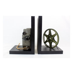 Revere 8 Model 88 - Vintage Camera Bookends - DVD Holder - Movie Theater Decor - Original Revere 8 Model 88 8mm Camera, 8mm film and film reel – modified into a pair of bookends.