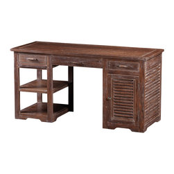 Artemano - Jo Computer Desk Made of Acacia Wood - Designed with a worn and weathered look, the Jo Desk is built with the integrity to stand the test of time. Carefully handcrafted, the beauty of this rustic office desk is in its detailing. From the unique grain of the Acacia wood to the striking lines of the slatted wood design, this desk is sure to add charm to any study or home office.
