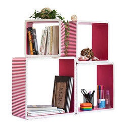 Blancho Bedding - [Pink Strip] Square Leather Wall Shelf / Bookshelf / Floating Shelf (Set of 4) - These rounded corner wall cube shelves add a new and refreshing element to your room and can be easily combined with other pieces to create a customized wall space. Coming in various colors and sizes, they spice up your home's decor, add versatility, and create a whole new range of storage spaces. You can hang them on the wall, or have them stand on table or floor, any way you like. Fashion forward design has never been so functional. This range of faux leather storage cubes is sure to delight! Perfect for wall mounting, these modern display floating shelves are sure to delight. Constructed from MDF with a top faux leather wrapping. Easy to mount, easy to love! Attractive shelf boxes give any wall in your home a striking appearance. Arrange in whatever fashion you like - whether it be grouped together or displayed separately. Each box serves as a practical shelf, as well as a great wall decoration.