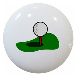 Golf Ball and Tee Ceramic Series, Knob - New 1 1/2 inch ceramic cabinet, drawer, or furniture knob with mounting hardware included. Also works great in a bathroom or on bi-fold closet doors (may require longer screws).  Item can be wiped clean with a soft damp cloth.  Great addition and nice finishing touch to any room.