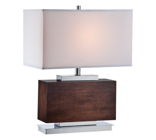 Lite Source - Lite Source Firmino Contemporary Table Lamp XSL-96022 - From the Firmino Collection comes this masculine Lite Source contemporary table lamp. The rectangular base has been finished in a warm Walnut Wood and complimented with Chrome metal accenting. To pull the look together, a coordinating rectangular shade made from an off-white fabric has been used.