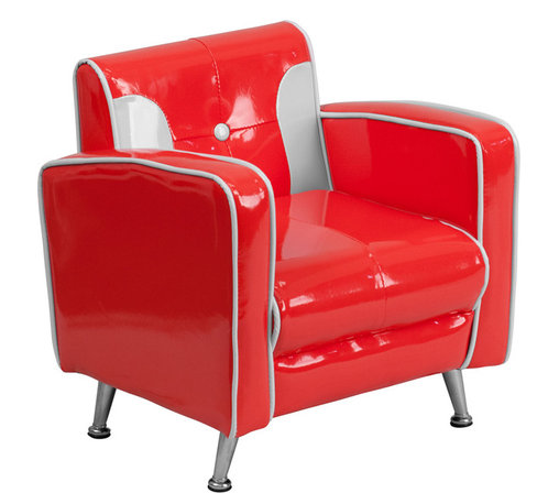 Flash Furniture - Flash Furniture Kids Red and White Chair - Kids will now get to enjoy furniture designed specifically for their size! This retro style chair will be a charming piece of furniture that your child is sure to love. This portable chair is great for seating in any room. The vinyl upholstery ensures easy cleaning after accidents or for quick wipe offs.