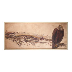 Kathy Kuo Home - American Eagle Rustic Lodge Water Color Wall Art - Framed - Eagle scout. A must-have addition to your art collection, this majestic portrait features an eagle perched on the edge of a limb. Perfect anywhere, but especially at home in a mountain retreat or rustic lodge.