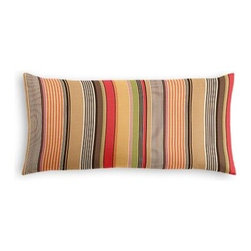 Red & Orange Modern Stripe Custom Lumbar Pillow - The perfect solo statement on a modern chair or bed, the rectangular lines of the Simple Lumbar Pillow are effortlessly chic. We love it in this purple, lime and taupe multi stripe that feels modern with a need for speed.